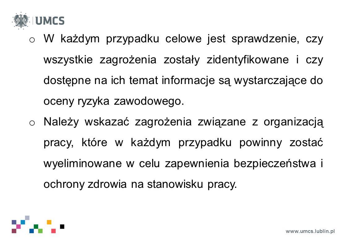 www.umcs.lublin.pl o W każdym przypadku celowe jest sprawdzenie, czy wszystkie zagrożenia zostały zidentyfikowane i czy dostępne na ich temat informac