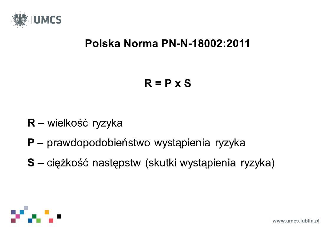 www.umcs.lublin.pl Polska Norma PN-N-18002:2011 R = P x S R – wielkość ryzyka P – prawdopodobieństwo wystąpienia ryzyka S – ciężkość następstw (skutki
