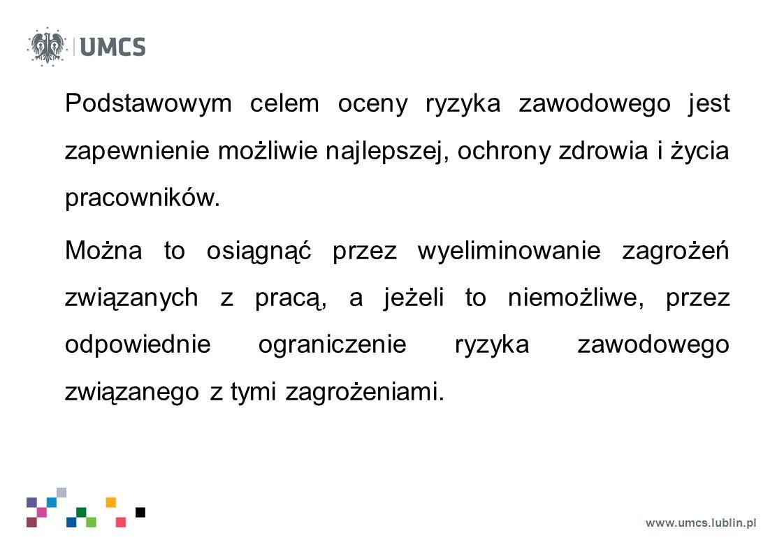 www.umcs.lublin.pl Przy planowaniu działań zapobiegawczych lub korygujących zaleca się uwzględniać konieczność eliminowania lub ograniczania ryzyka zawodowego w szczególności przez: o likwidowanie zagrożeń u źródeł ich powstawania,