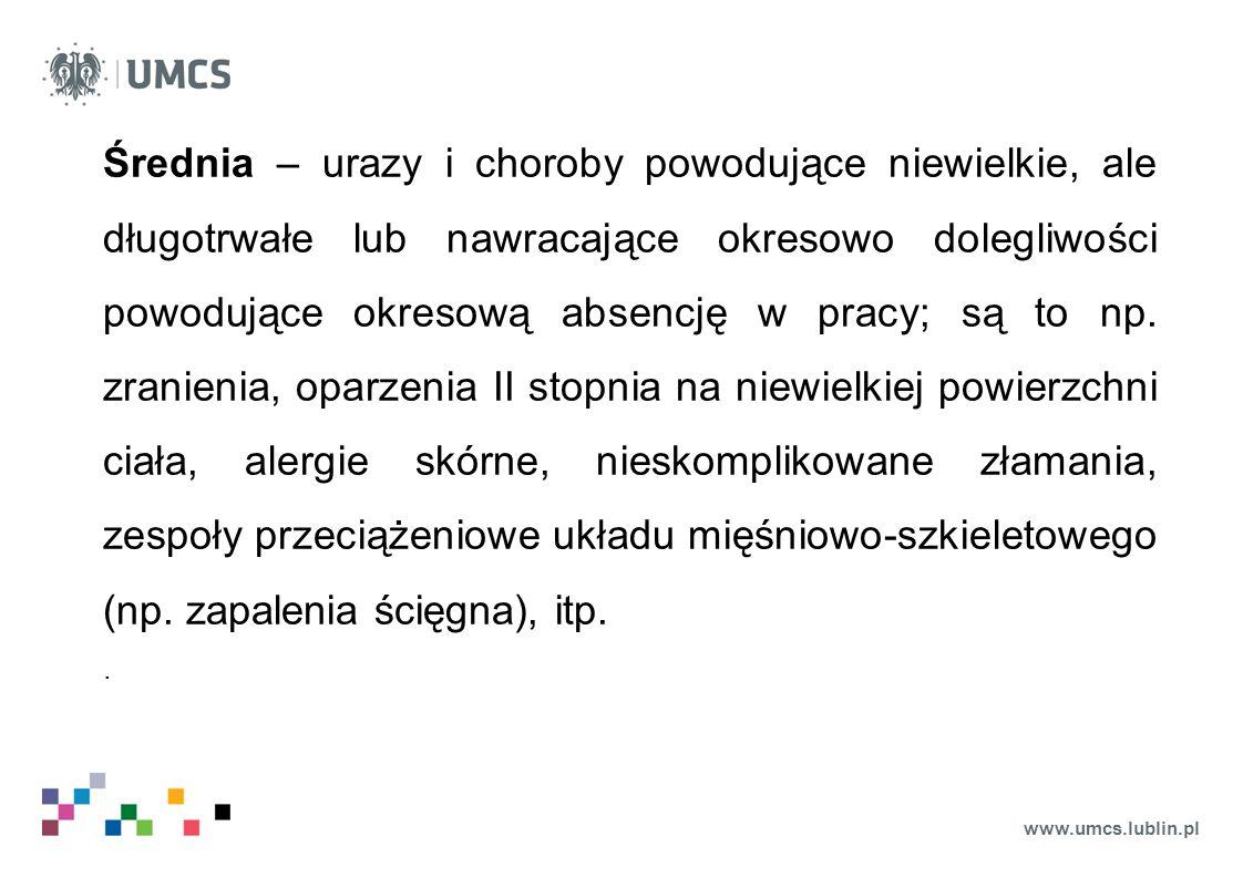 www.umcs.lublin.pl Średnia – urazy i choroby powodujące niewielkie, ale długotrwałe lub nawracające okresowo dolegliwości powodujące okresową absencję