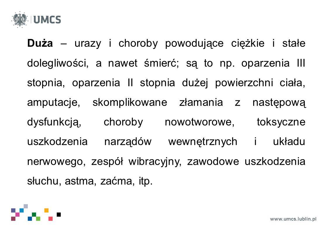 www.umcs.lublin.pl Duża – urazy i choroby powodujące ciężkie i stałe dolegliwości, a nawet śmierć; są to np. oparzenia III stopnia, oparzenia II stopn