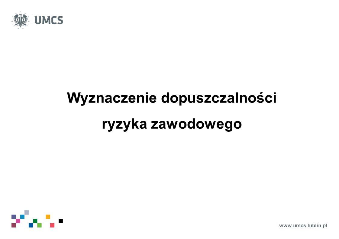 www.umcs.lublin.pl Wyznaczenie dopuszczalności ryzyka zawodowego