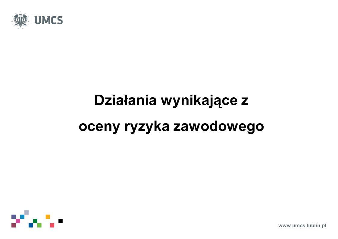 www.umcs.lublin.pl Działania wynikające z oceny ryzyka zawodowego