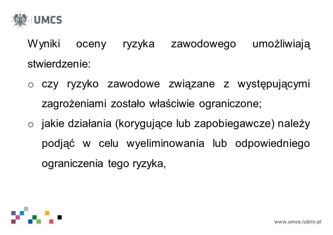 www.umcs.lublin.pl Wyniki oceny ryzyka zawodowego umożliwiają stwierdzenie: o czy ryzyko zawodowe związane z występującymi zagrożeniami zostało właści