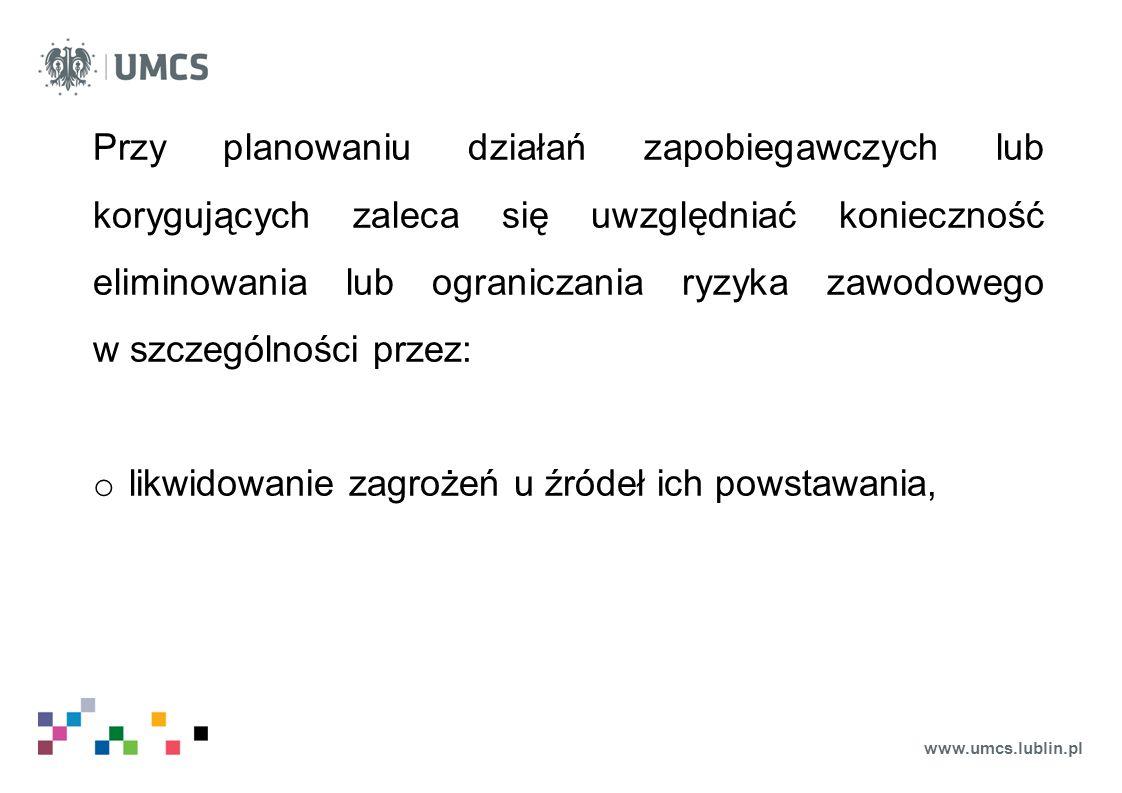 www.umcs.lublin.pl Przy planowaniu działań zapobiegawczych lub korygujących zaleca się uwzględniać konieczność eliminowania lub ograniczania ryzyka za