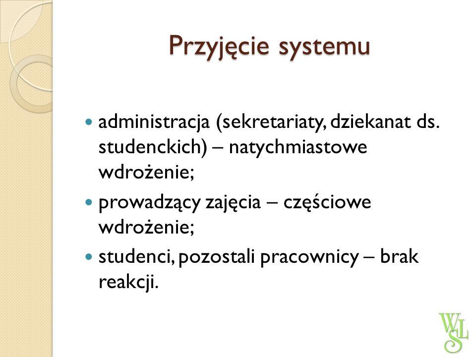 Przyjęcie systemu administracja (sekretariaty, dziekanat ds. studenckich) – natychmiastowe wdrożenie; prowadzący zajęcia – częściowe wdrożenie; studen