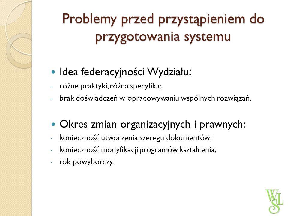 Problemy przed przystąpieniem do przygotowania systemu Idea federacyjności Wydziału : - różne praktyki, różna specyfika; - brak doświadczeń w opracowy