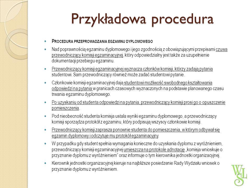 Przykładowa procedura P ROCEDURA PRZEPROWADZANIA EGZAMINU DYPLOMOWEGO Nad poprawnością egzaminu dyplomowego i jego zgodnością z obowiązującymi przepis