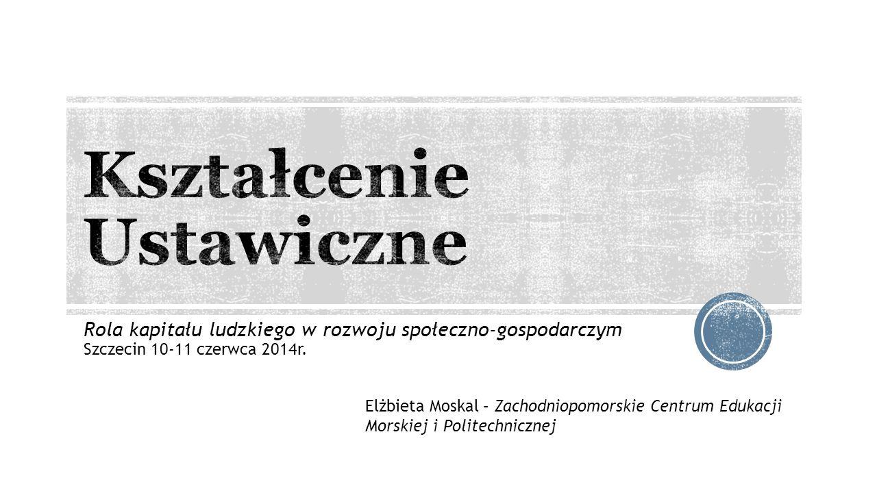 Rola kapitału ludzkiego w rozwoju społeczno-gospodarczym Szczecin 10-11 czerwca 2014r. Elżbieta Moskal – Zachodniopomorskie Centrum Edukacji Morskiej