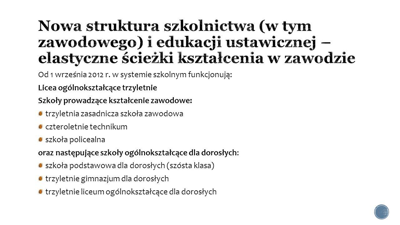 Od 1 września 2012 r. w systemie szkolnym funkcjonują: Licea ogólnokształcące trzyletnie Szkoły prowadzące kształcenie zawodowe: trzyletnia zasadnicza