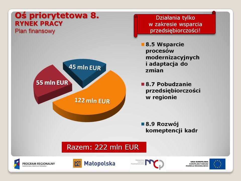 222 mln EUR Razem: 222 mln EUR Oś priorytetowa 8. RYNEK PRACY Plan finansowy Działania tylko w zakresie wsparcia przedsiębiorczości! 55 mln EUR 45 mln
