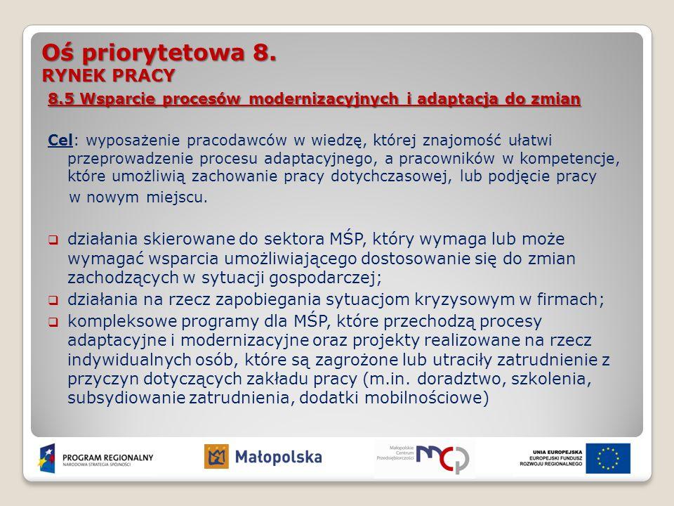 Oś priorytetowa 8. RYNEK PRACY 8.5 Wsparcie procesów modernizacyjnych i adaptacja do zmian Cel: wyposażenie pracodawców w wiedzę, której znajomość uła