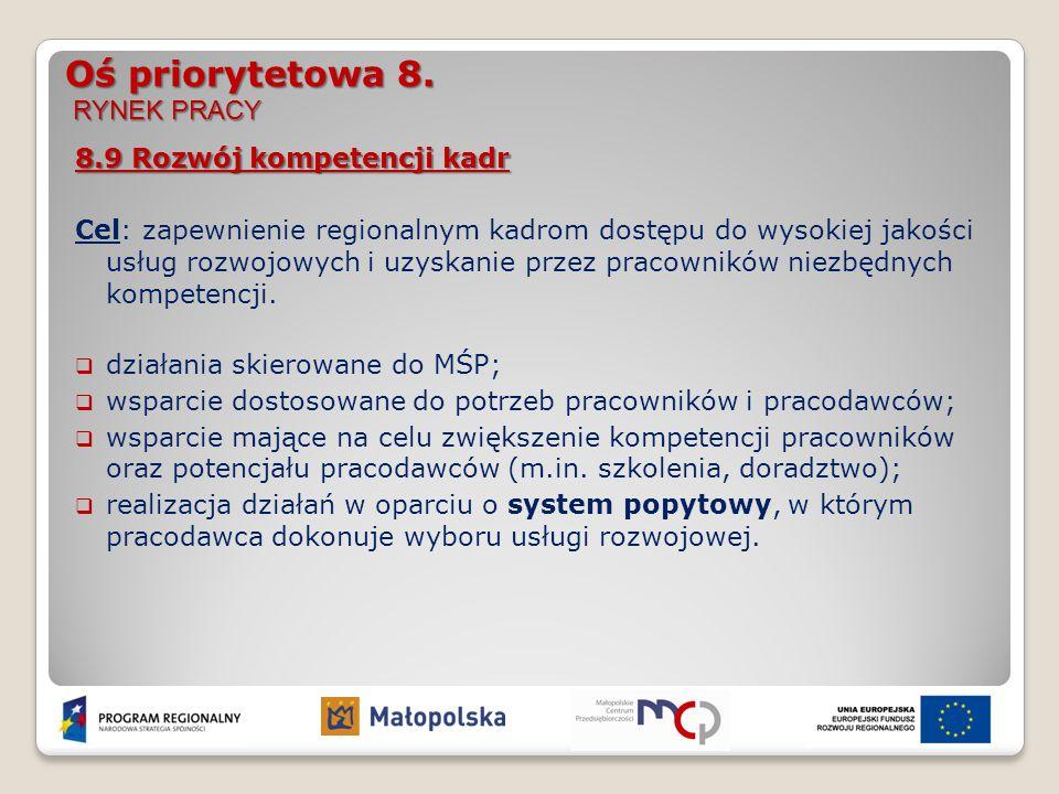 Oś priorytetowa 8. RYNEK PRACY 8.9 Rozwój kompetencji kadr Cel: zapewnienie regionalnym kadrom dostępu do wysokiej jakości usług rozwojowych i uzyskan