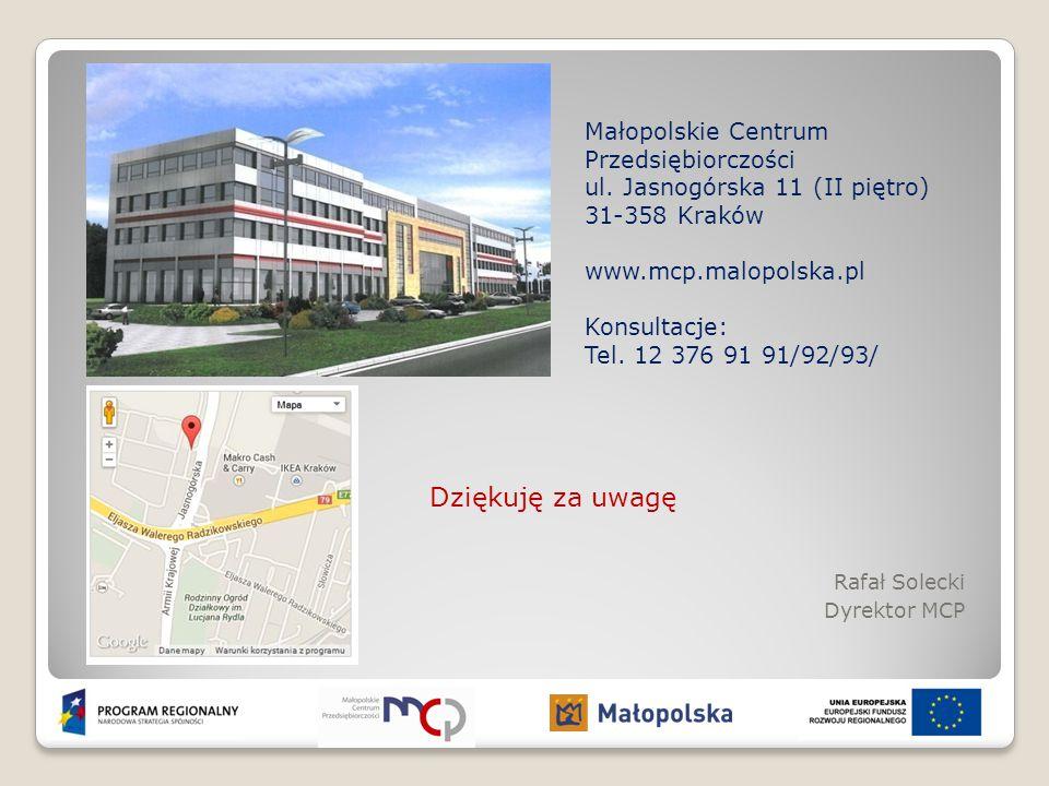 Dziękuję za uwagę Rafał Solecki Dyrektor MCP Małopolskie Centrum Przedsiębiorczości ul. Jasnogórska 11 (II piętro) 31-358 Kraków www.mcp.malopolska.pl
