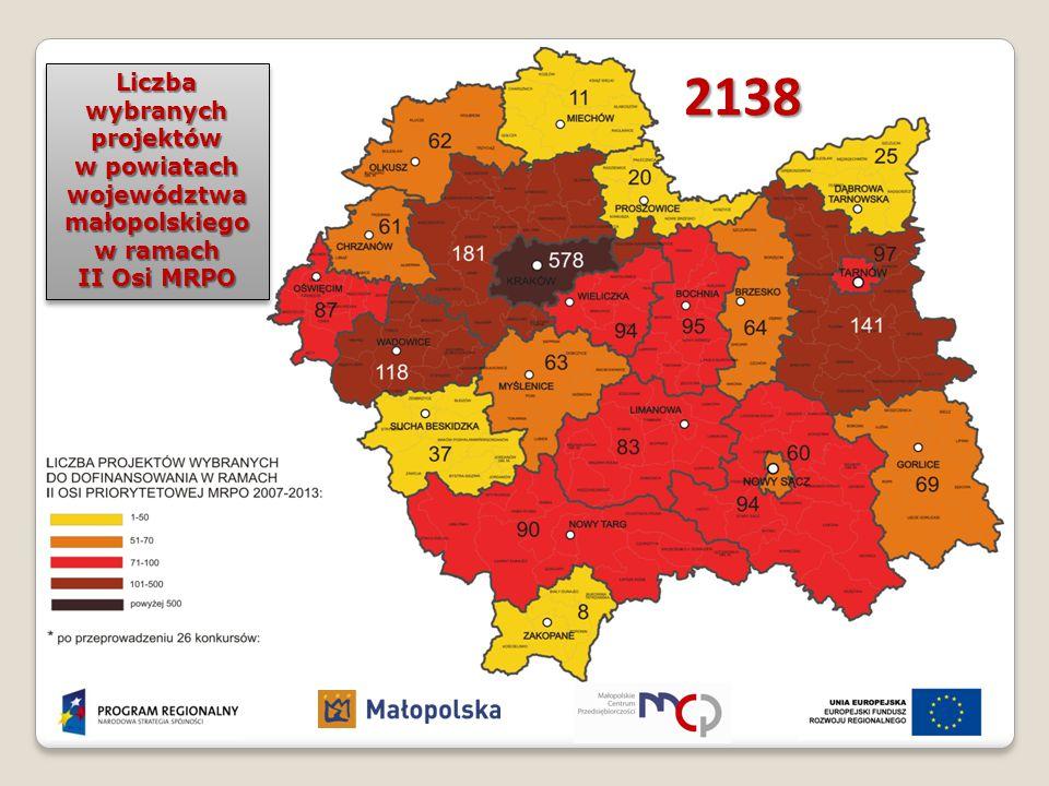2138 Liczba wybranych projektów w powiatach województwa małopolskiego w ramach II Osi MRPO Liczba wybranych projektów w powiatach województwa małopols