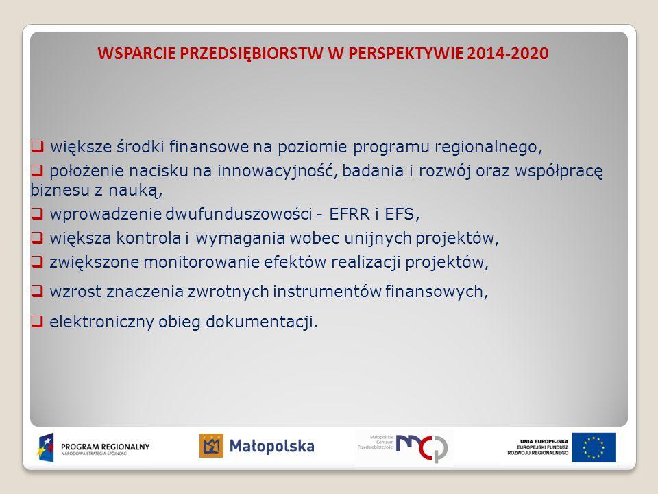 WSPARCIE PRZEDSIĘBIORSTW W PERSPEKTYWIE 2014-2020  większe środki finansowe na poziomie programu regionalnego,  położenie nacisku na innowacyjność,