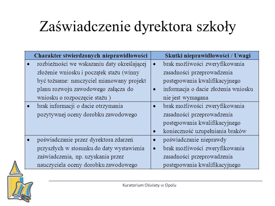 Zaświadczenie dyrektora szkoły – wzór pozostałe informacje Kuratorium Oświaty w Opolu W przypadku wydłużenia okresu odbywania stażu należy precyzyjnie wskazać czas nieobecności oraz powód nieobecności (np.