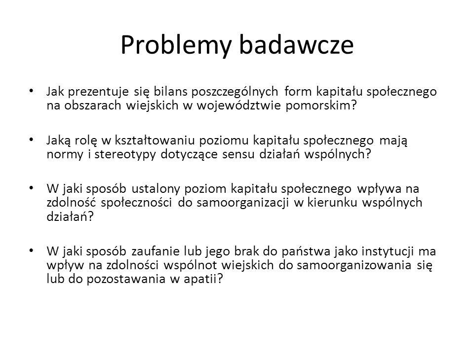 Problemy badawcze Jak prezentuje się bilans poszczególnych form kapitału społecznego na obszarach wiejskich w województwie pomorskim? Jaką rolę w kszt
