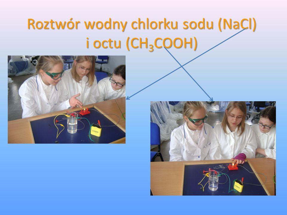 Roztwór wodny chlorku sodu (NaCl) i octu (CH 3 COOH)