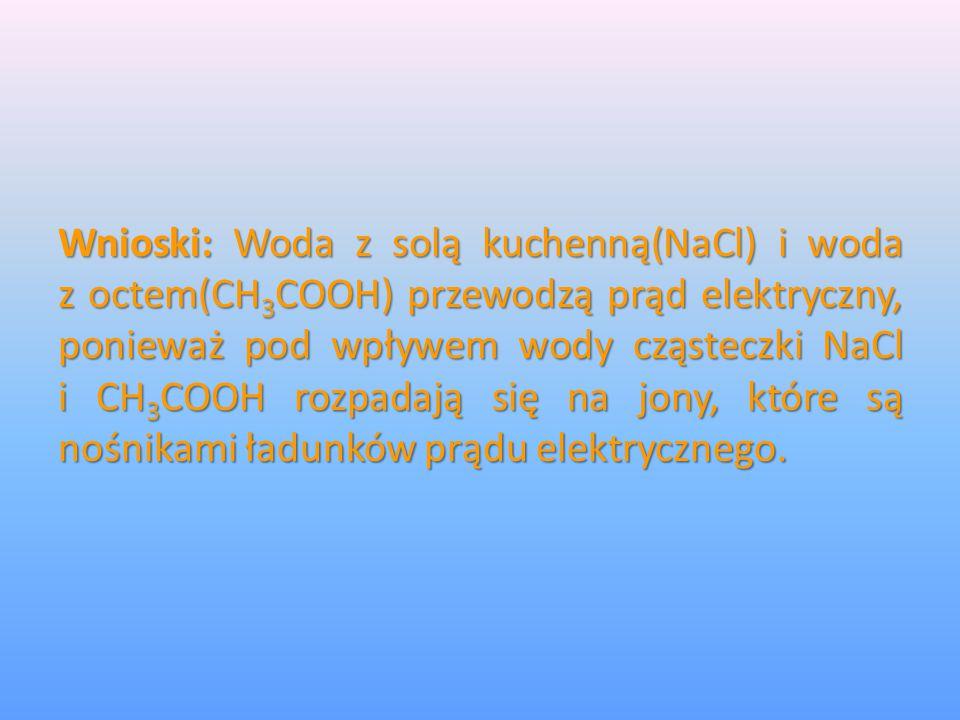 Wnioski: Woda z solą kuchenną(NaCl) i woda zoctem(CH 3 COOH) przewodzą prąd elektryczny, ponieważ pod wpływem wody cząsteczki NaCl iCH 3 COOH rozpadaj