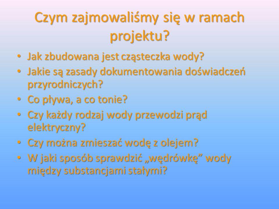 Czym zajmowaliśmy się w ramach projektu? Jak zbudowana jest cząsteczka wody? Jak zbudowana jest cząsteczka wody? Jakie są zasady dokumentowania doświa