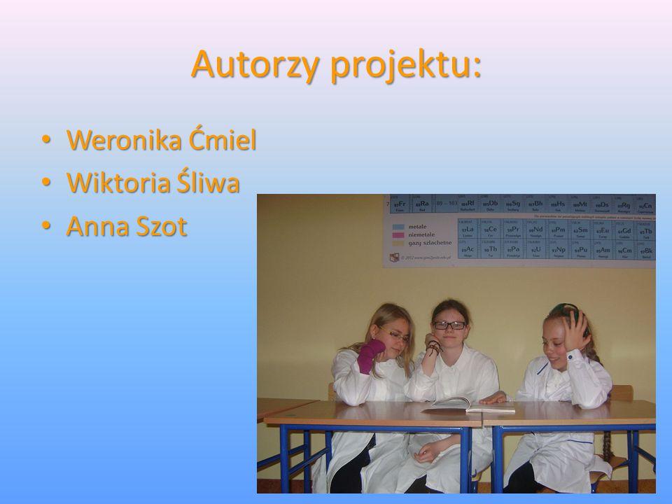 Autorzy projektu: Weronika Ćmiel Weronika Ćmiel Wiktoria Śliwa Wiktoria Śliwa Anna Szot Anna Szot