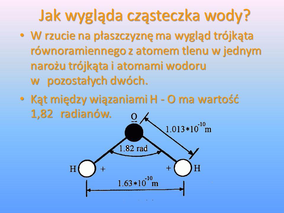 Jak wygląda cząsteczka wody? W rzucie na płaszczyznę ma wygląd trójkąta równoramiennego z atomem tlenu w jednym narożu trójkąta i atomami wodoru w poz
