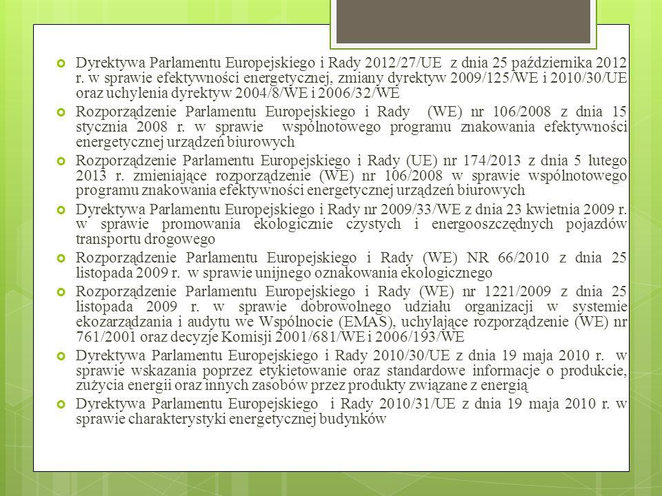  Dyrektywa Parlamentu Europejskiego i Rady 2012/27/UE z dnia 25 października 2012 r. w sprawie efektywności energetycznej, zmiany dyrektyw 2009/125/W