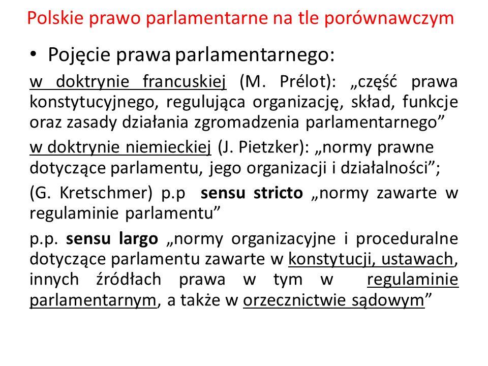 """Polskie prawo parlamentarne na tle porównawczym Pojęcie prawa parlamentarnego: w doktrynie francuskiej (M. Prélot): """"część prawa konstytucyjnego, regu"""