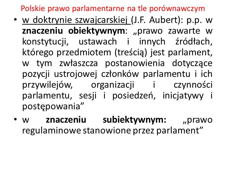 """Polskie prawo parlamentarne na tle porównawczym w doktrynie szwajcarskiej (J.F. Aubert): p.p. w znaczeniu obiektywnym: """"prawo zawarte w konstytucji, u"""