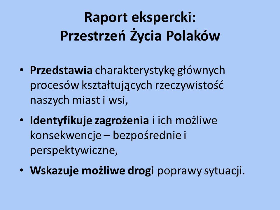 Raport ekspercki: Przestrzeń Życia Polaków Przedstawia charakterystykę głównych procesów kształtujących rzeczywistość naszych miast i wsi, Identyfikuje zagrożenia i ich możliwe konsekwencje – bezpośrednie i perspektywiczne, Wskazuje możliwe drogi poprawy sytuacji.