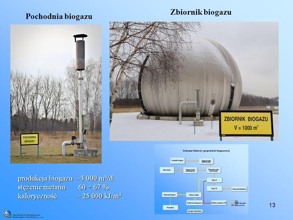 13 Zbiornik biogazu Pochodnia biogazu produkcja biogazu ~3 000 m 3 /d stężenie metanu 60 ÷ 67 % kaloryczność ~ 25 000 kJ/m 3