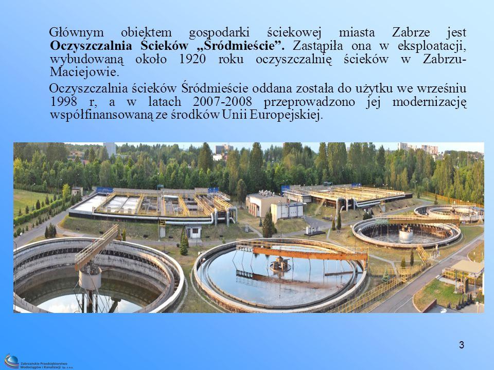 """3 Głównym obiektem gospodarki ściekowej miasta Zabrze jest Oczyszczalnia Ścieków """"Śródmieście ."""