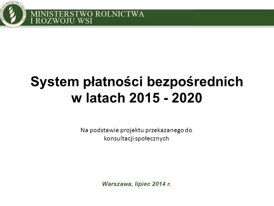 System płatności bezpośrednich w latach 2015 - 2020 Warszawa, lipiec 2014 r. Na podstawie projektu przekazanego do konsultacji społecznych