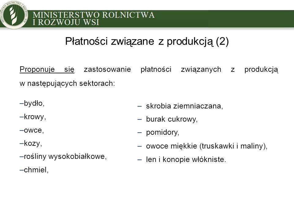 Płatności związane z produkcją (2) Proponuje się zastosowanie płatności związanych z produkcją w następujących sektorach: –bydło, –krowy, –owce, –kozy