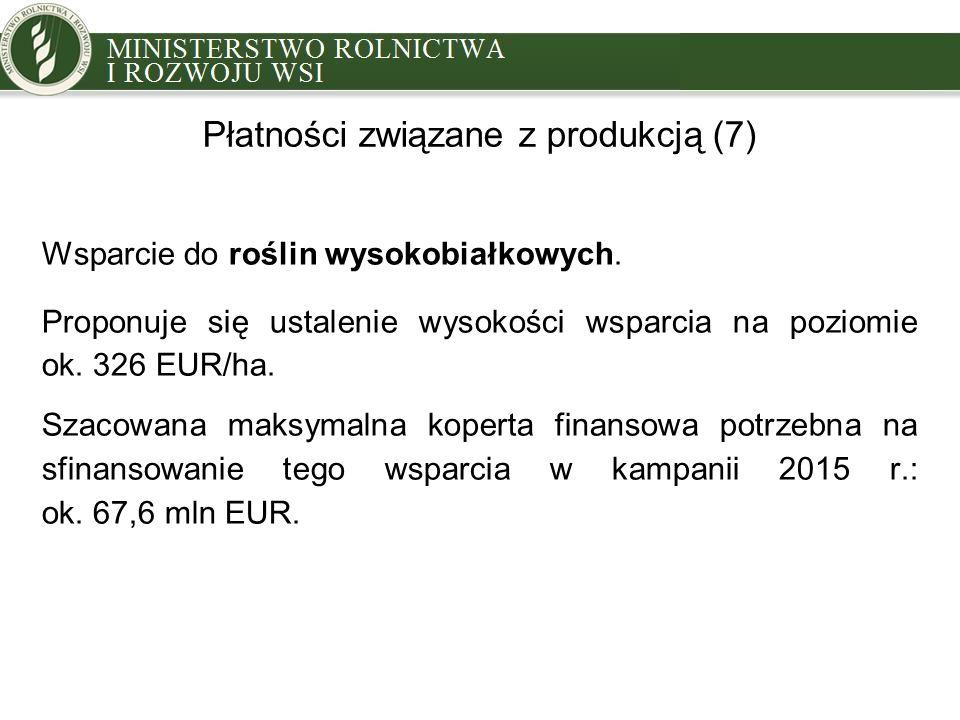 Płatności związane z produkcją (7) Wsparcie do roślin wysokobiałkowych. Proponuje się ustalenie wysokości wsparcia na poziomie ok. 326 EUR/ha. Szacowa