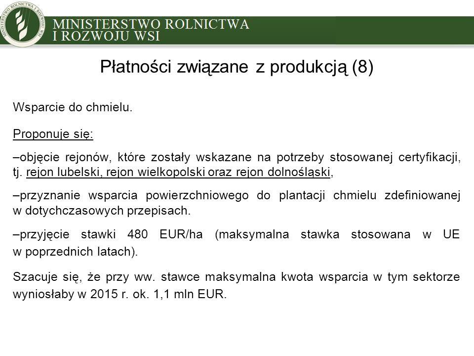 Płatności związane z produkcją (8) Wsparcie do chmielu. Proponuje się: –objęcie rejonów, które zostały wskazane na potrzeby stosowanej certyfikacji, t