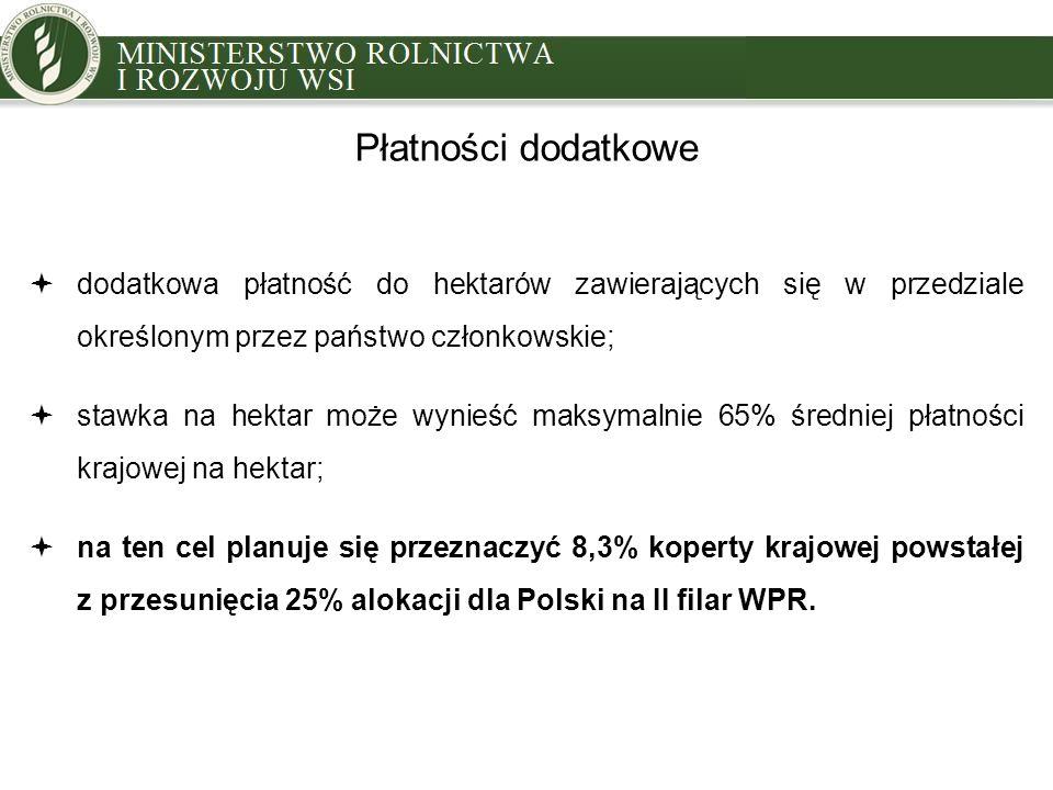 Płatności dodatkowe  dodatkowa płatność do hektarów zawierających się w przedziale określonym przez państwo członkowskie;  stawka na hektar może wynieść maksymalnie 65% średniej płatności krajowej na hektar;  na ten cel planuje się przeznaczyć 8,3% koperty krajowej powstałej z przesunięcia 25% alokacji dla Polski na II filar WPR.