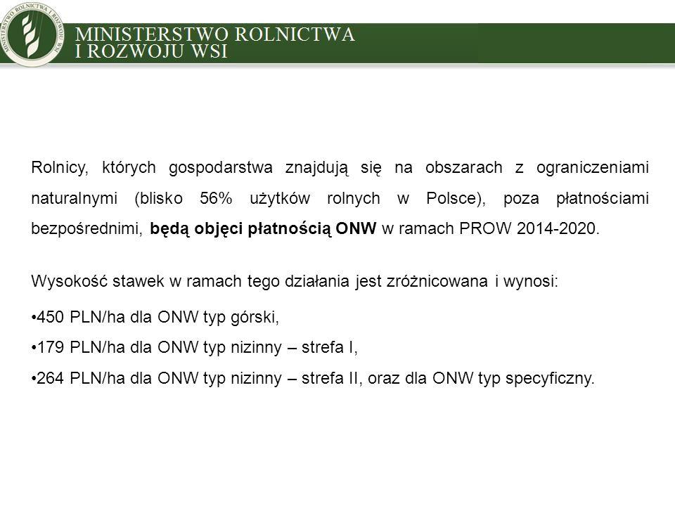 Rolnicy, których gospodarstwa znajdują się na obszarach z ograniczeniami naturalnymi (blisko 56% użytków rolnych w Polsce), poza płatnościami bezpośrednimi, będą objęci płatnością ONW w ramach PROW 2014-2020.