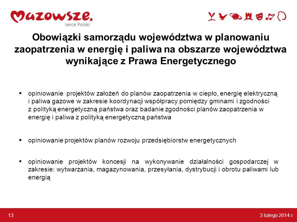 3 lutego 2014 r 13 Obowiązki samorządu województwa w planowaniu zaopatrzenia w energię i paliwa na obszarze województwa wynikające z Prawa Energetyczn