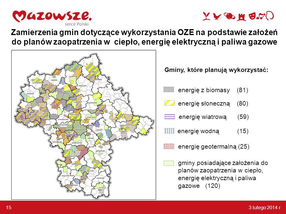3 lutego 2014 r 15 Zamierzenia gmin dotyczące wykorzystania OZE na podstawie założeń do planów zaopatrzenia w ciepło, energię elektryczną i paliwa gaz