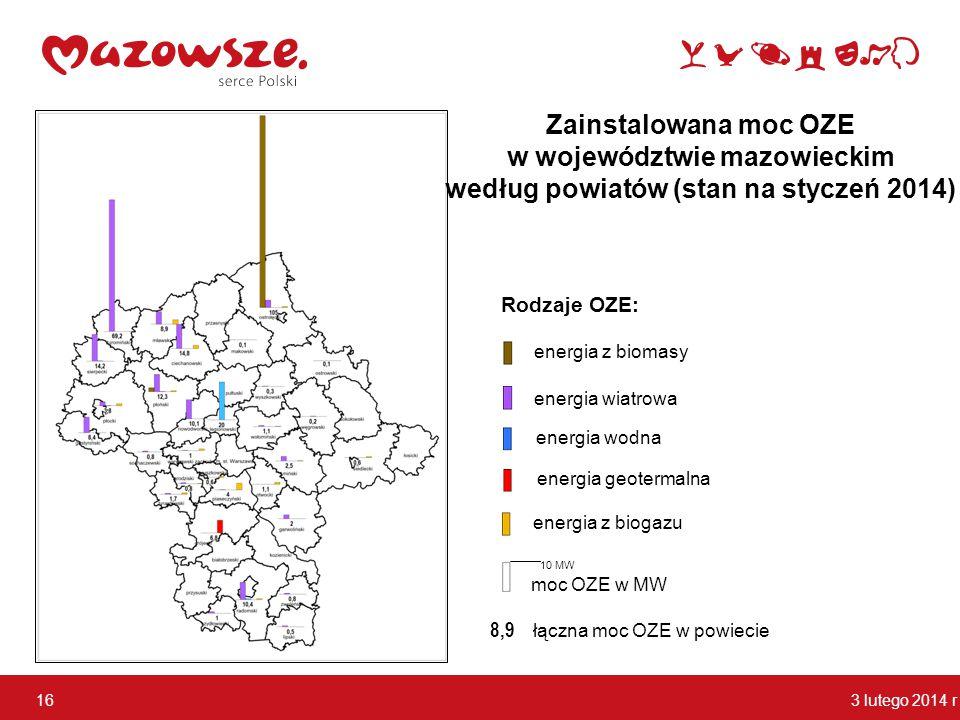 3 lutego 2014 r 16 3 lutego 2014 r 16 10 MW energia z biomasy energia wodna energia wiatrowa energia geotermalna energia z biogazu moc OZE w MW łączna