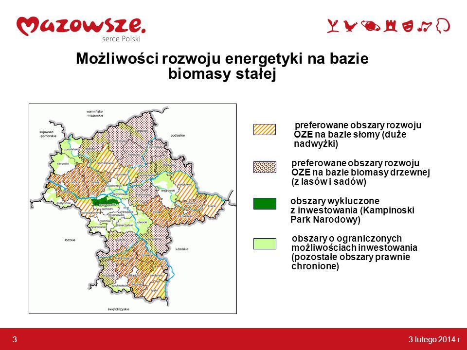 3 lutego 2014 r 3 Możliwości rozwoju energetyki na bazie biomasy stałej preferowane obszary rozwoju OZE na bazie słomy (duże nadwyżki) preferowane obs