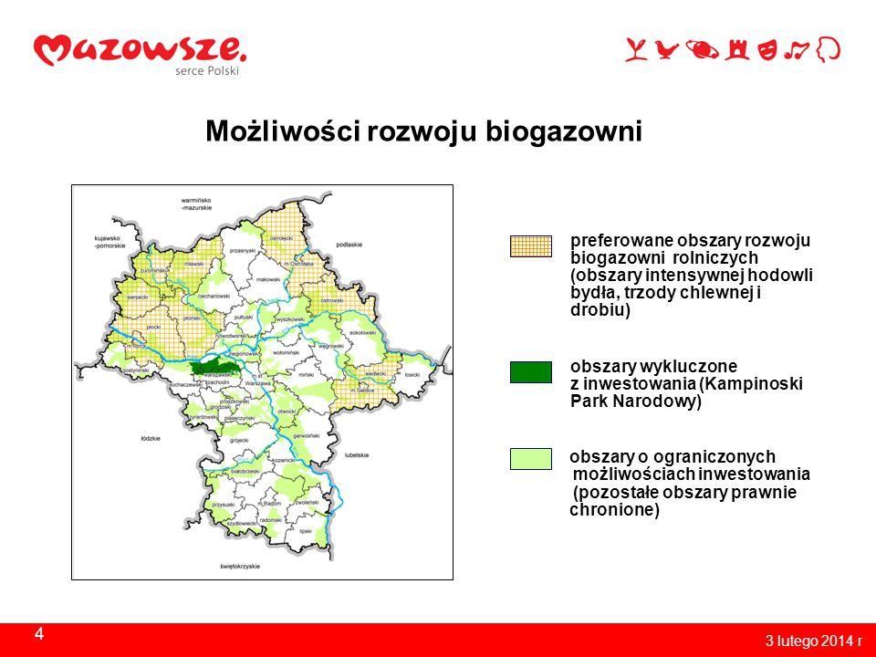 4 3 lutego 2014 r Możliwości rozwoju biogazowni preferowane obszary rozwoju biogazowni rolniczych (obszary intensywnej hodowli bydła, trzody chlewnej