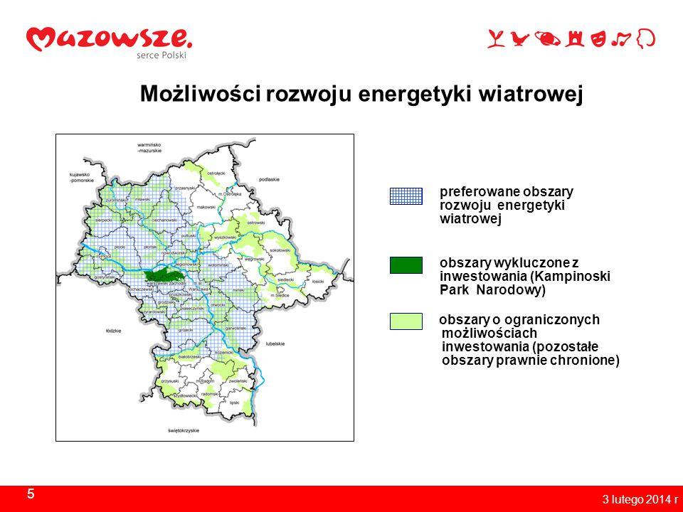 5 3 lutego 2014 r Możliwości rozwoju energetyki wiatrowej preferowane obszary rozwoju energetyki wiatrowej obszary wykluczone z inwestowania (Kampinos