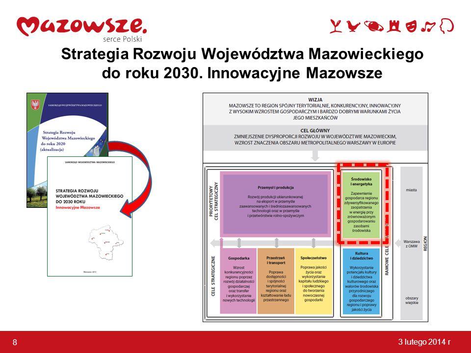 8 3 lutego 2014 r Strategia Rozwoju Województwa Mazowieckiego do roku 2030. Innowacyjne Mazowsze