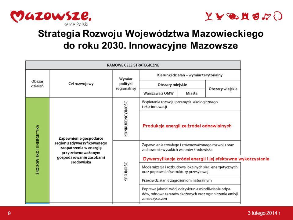 9 3 lutego 2014 r Strategia Rozwoju Województwa Mazowieckiego do roku 2030. Innowacyjne Mazowsze Dywersyfikacja źródeł energii i jej efektywne wykorzy