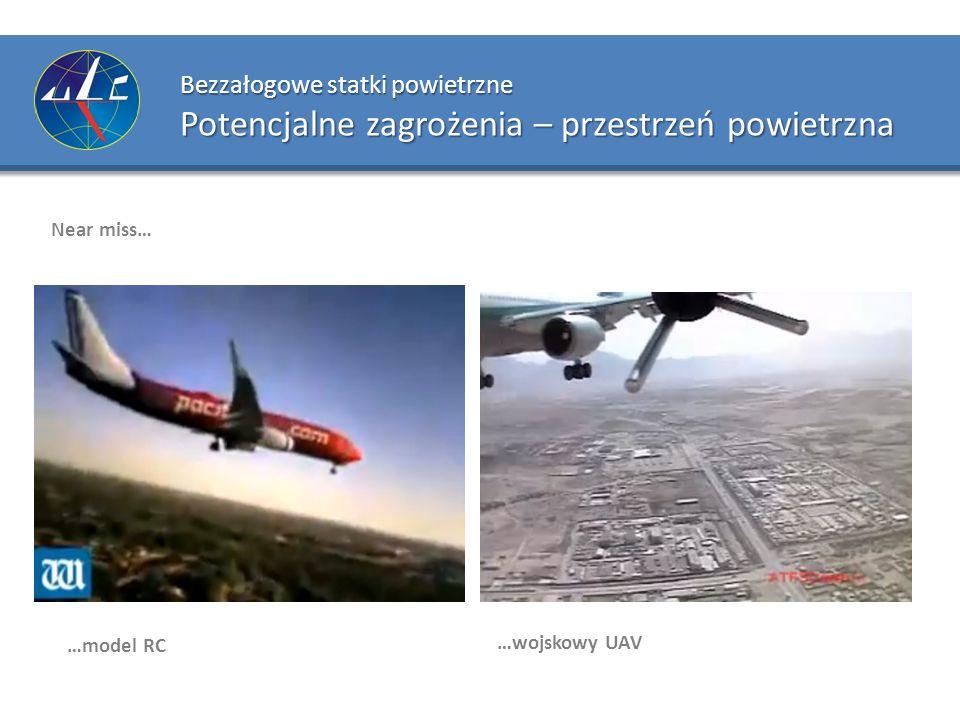 Bezzałogowe statki powietrzne Potencjalne zagrożenia – przestrzeń powietrzna Near miss… …model RC …wojskowy UAV