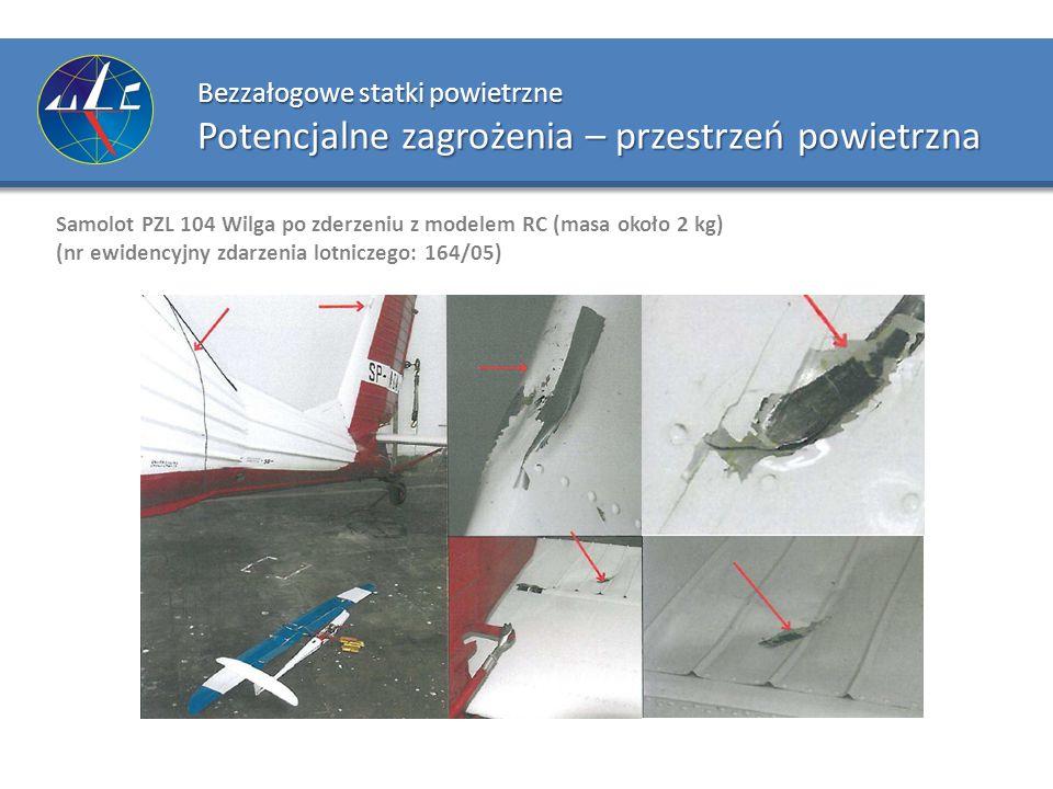 Bezzałogowe statki powietrzne Potencjalne zagrożenia – przestrzeń powietrzna Samolot PZL 104 Wilga po zderzeniu z modelem RC (masa około 2 kg) (nr ewi