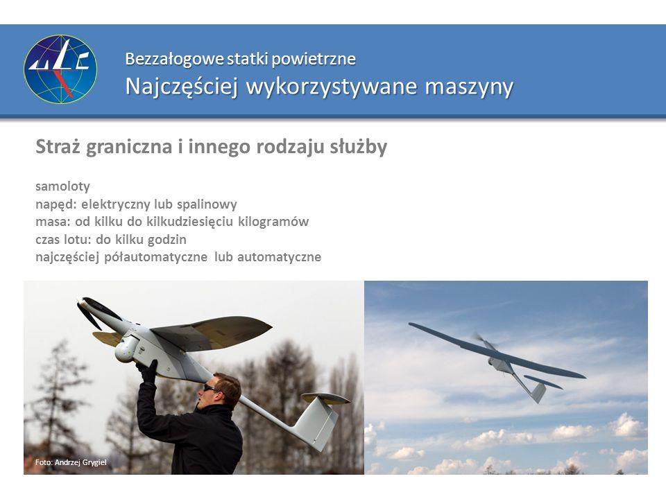 Bezzałogowe statki powietrzne Najczęściej wykorzystywane maszyny Straż graniczna i innego rodzaju służby samoloty napęd: elektryczny lub spalinowy mas